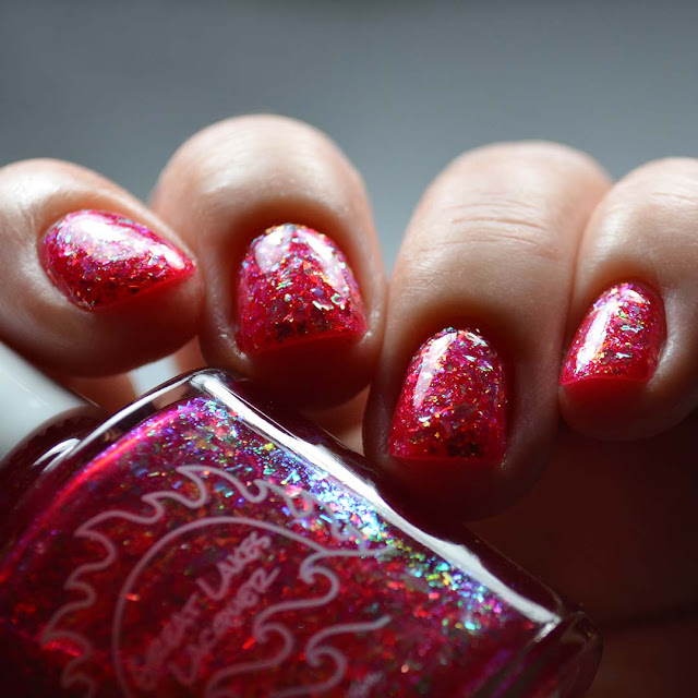 red flakie nail polish low light swatch