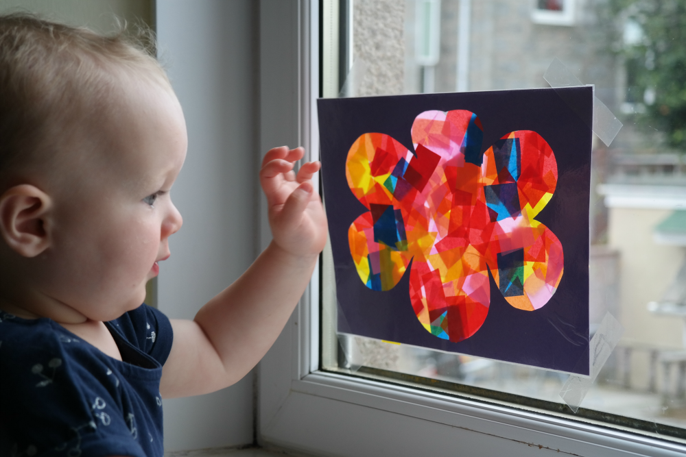 How to make a suncatcher with a toddler (one year old)