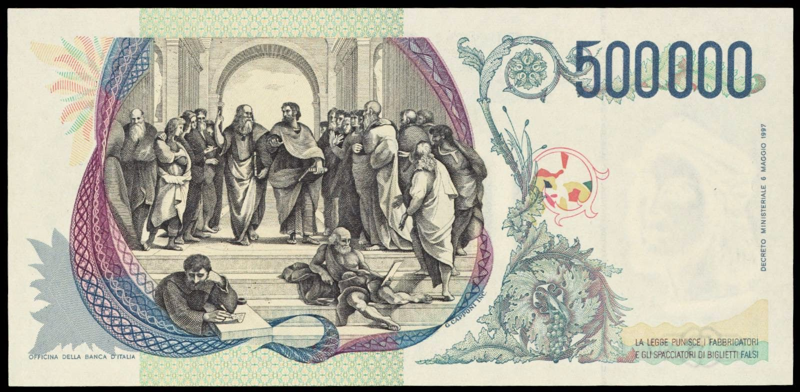 Currency of Italy 500000 Italian Lira banknote