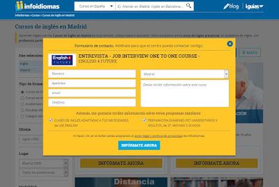 Formulario de contacto con las academias de inlgés en Madrid
