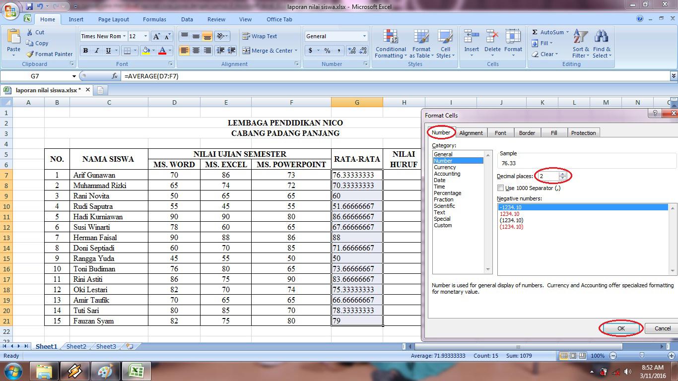 rumus, microsoft, excel, if, average, tabel, laporan, nilai, siswa, rata, keterangan, predikat