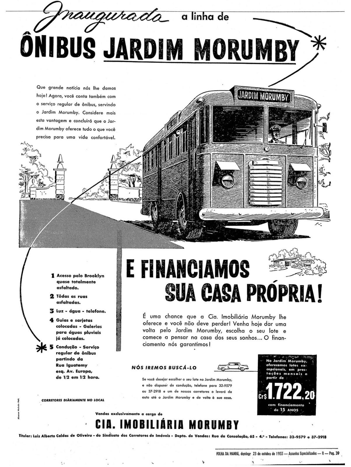 Propaganda anunciando a chegada da linha de ônibus no Bairro Morumbi em 1955