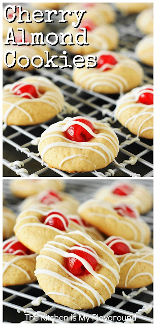 Cherry Almond Cookies ~ One adorable & tasty little treat! Perfect for Christmas cookie trays, cookie exchanges, Valentine's Day treats, or for everyday enjoying. #cookies #cherryalmondcookies #Christmascookies www.thekitchenismyplayground.com