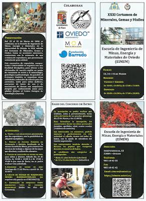 tríptico, certamen, Escuela de minas, Oviedo, minerales, gemas, fósiles