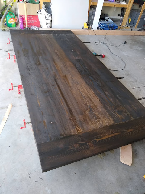 Stained wood table top