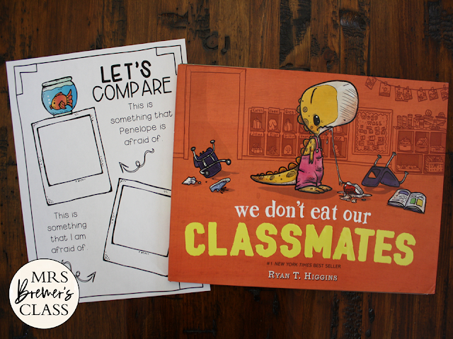 We Don't Eat Our Classmates book study literacy unit Common Core companion  activities and craftivity K-1