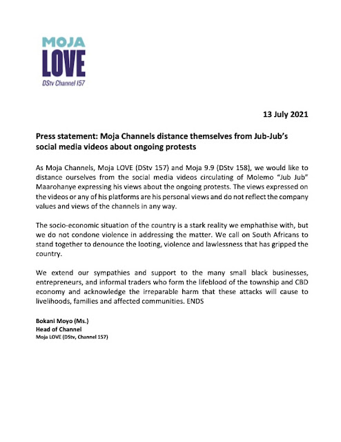Moja Love has released a statement
