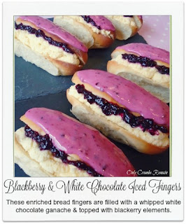 These blackberry & white chocolate iced fingers take advantage of the abundance of wild blackberries available for picking in autumn, with the blackberry jam and icing.  They are filled with a white chocolate ganache which has been whipped to bring lightness to the mixture.