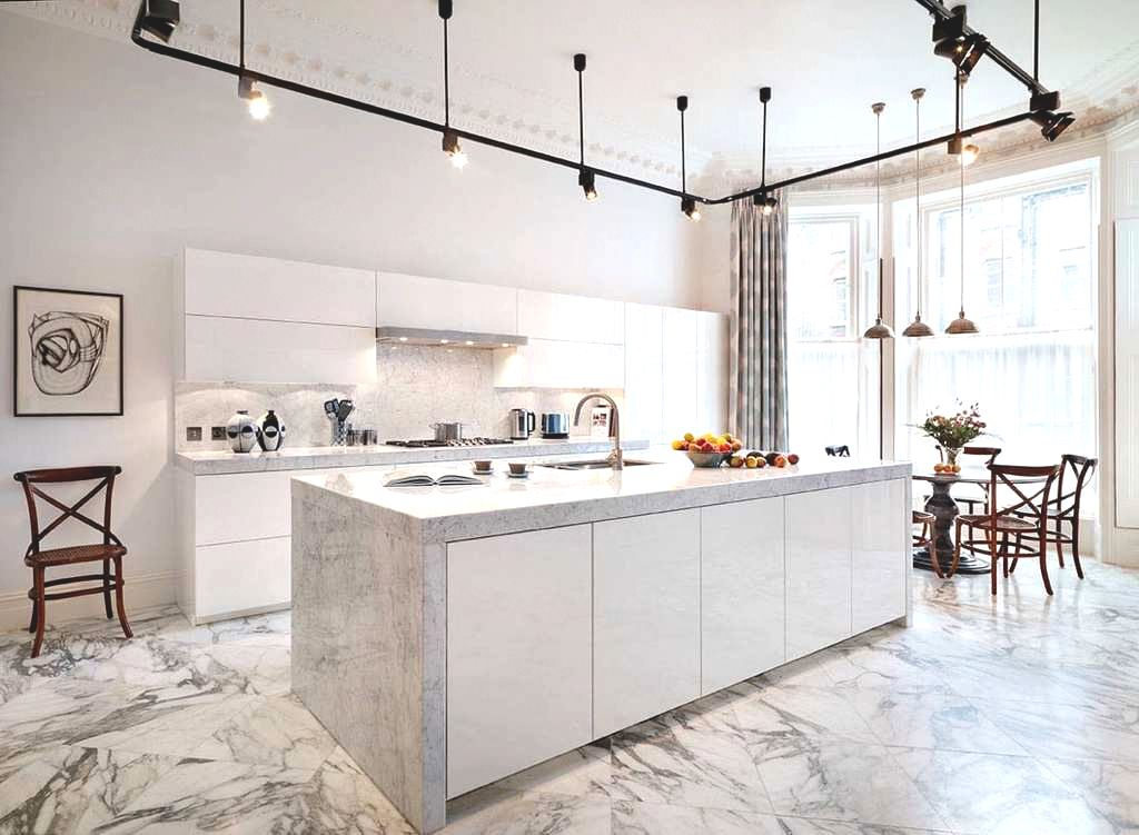 floor and bench modern marble kitchen