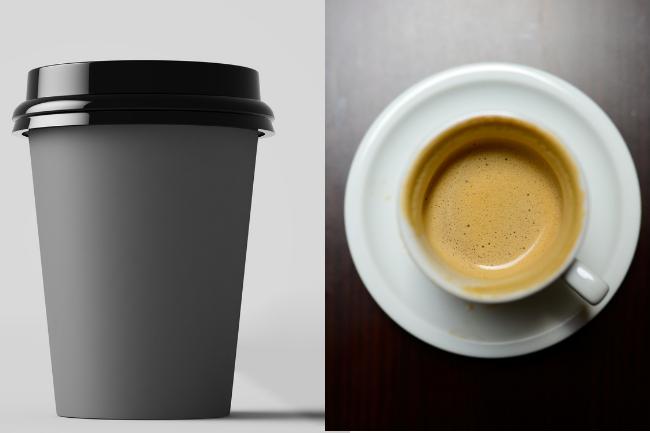 Um café americano e um café expresso