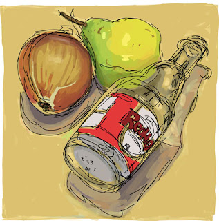 Still life drawing of a bottle, pear and onion. Drawn with Adobe Ideas. Chris Breier ©2012