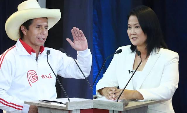 Según el conteo rápido de Ipsos al 100%, Pedro Castillo (50.2) y Keiko Fujimori (49.8%), según conteo rápido al 100%