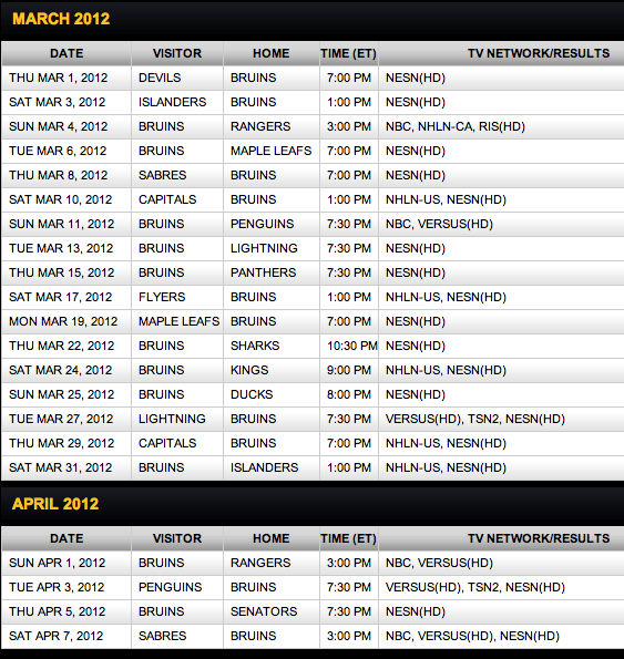 Bruins Schedule Tickets