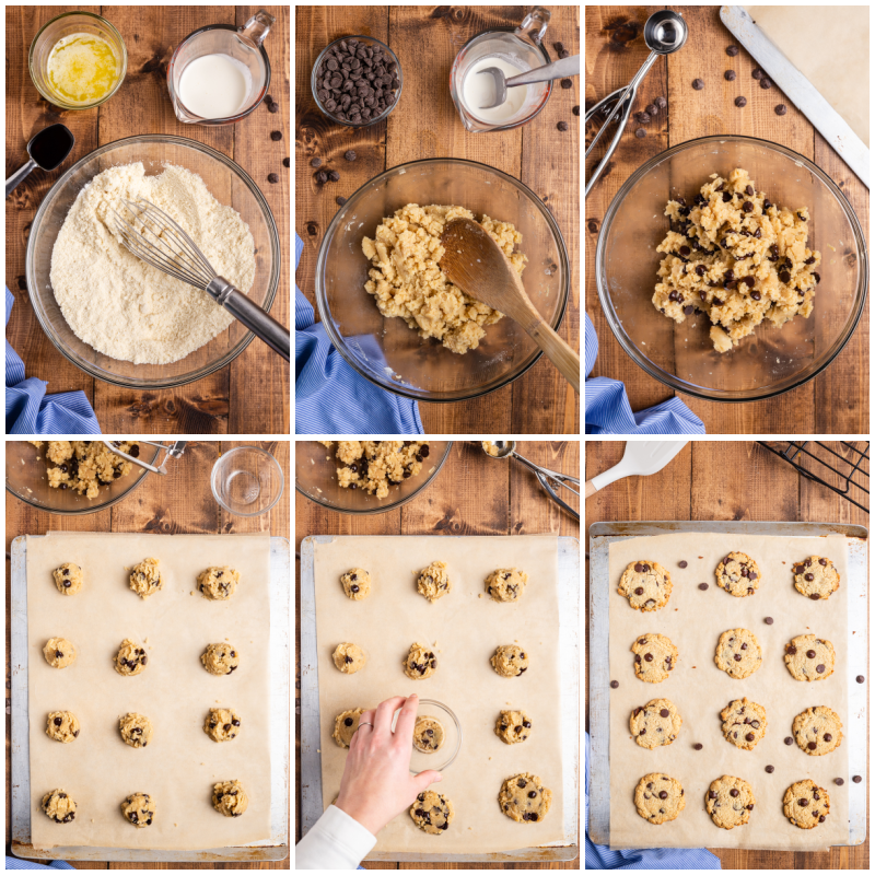 Process photos of making Low Carb Keto Chocolate Chip Cookies