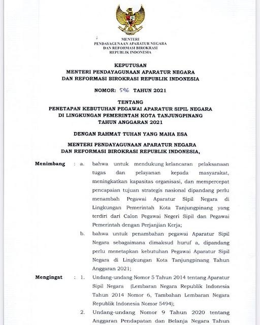 Formasi ASN 2021 Pemerintah Kota Tanjung Pinang