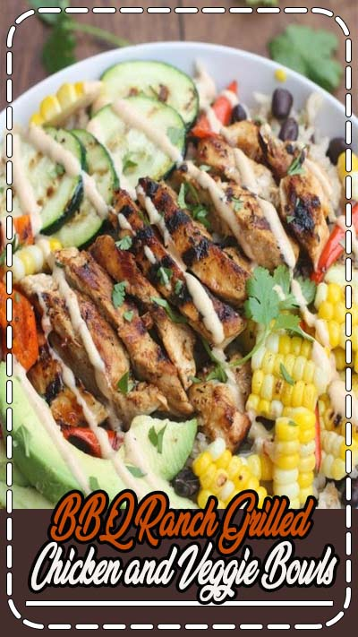 BBQ Ranch Gilled Chicken and Veggie Bowls served over black bean rice with delicious grilled veggies, marinated and grilled chicken, and a delicious Hidden Valley® Honey BBQ Ranch® Dressing.