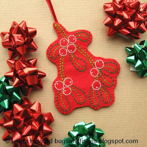 Bugs And Fishes By Lupin: How To: Embroidered Mistletoe