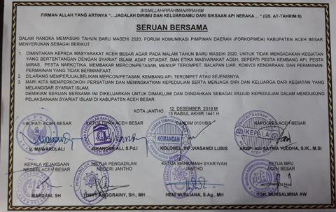 Aceh Larang Warganya Rayakan Tahun Baru, Ini Tiga Poin Seruannya