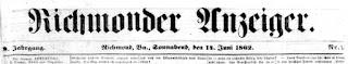 Richmonder Anzeiger. 9. Jg, Nr. 2, Sa., den 14. Juni 1862, S. 1