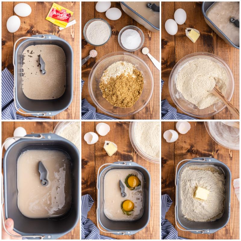 Six photos of the process of making keto bread ina breadmaker.
