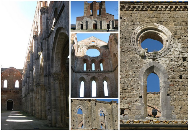 The roofless church at the San Galgano abbey in Southern Tuscany