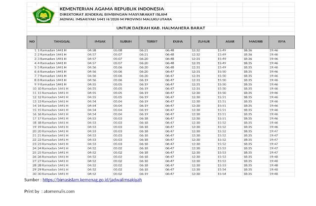 Jadwal Imsakiyah HALBAR 2020 dari KEMENAG