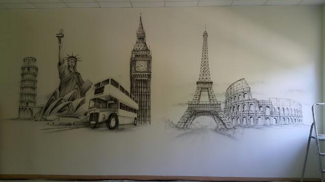 Mural w sali szkolnej, artystyczne malowanie sćian w szkołach, klasach, aranzacja klasy językowej, malowidło ścienne w sali jezykowej, mural czarno biały