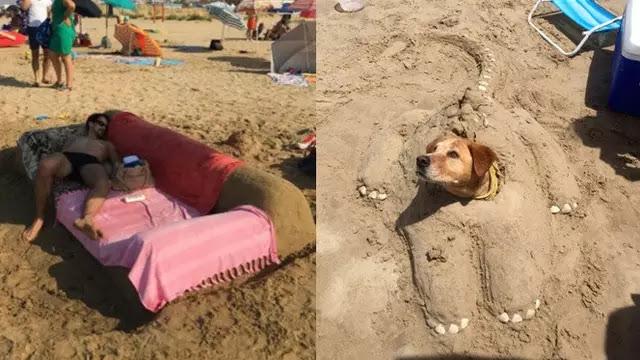 Kelakuan Kocak Saat di Pantai Ini Bikin Geleng Kepala