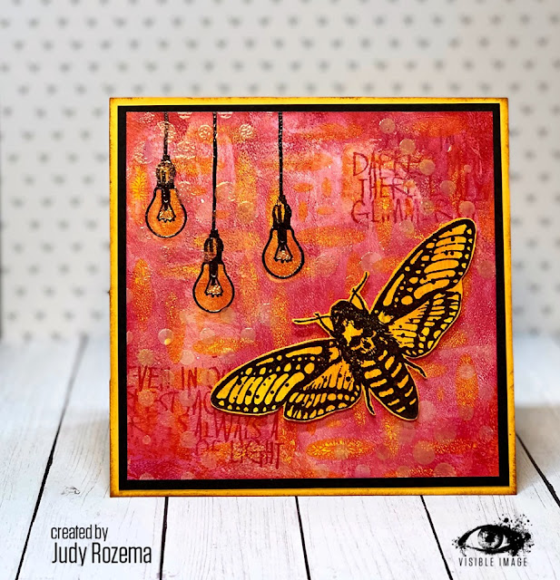 moth stamp | mixed media card