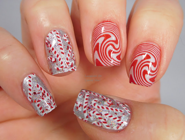 UberChic Beauty Holly Jolly and Op Art Magic over Sassy Pants Polish Nose Like A Cherry and New Fallen Snow
