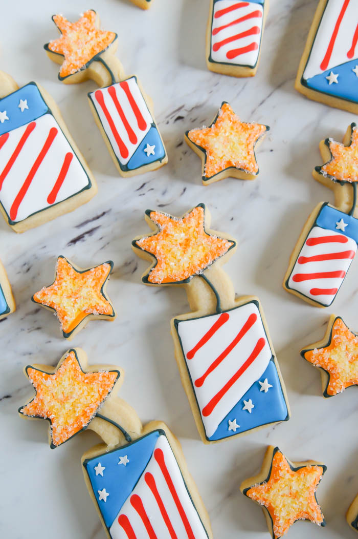 whimsical 4th of July fireworks cookies