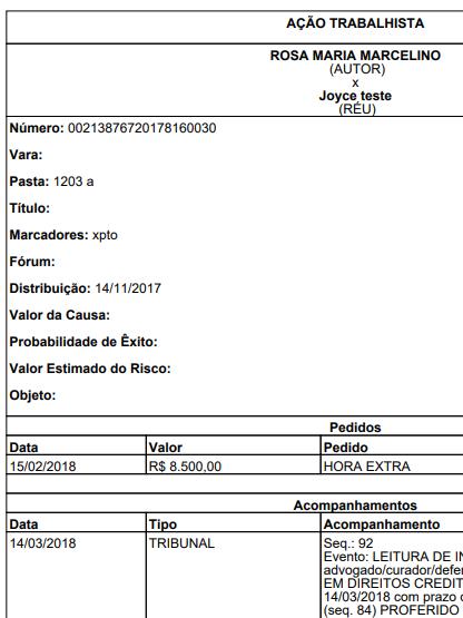 , Novidades GOJUR – Relatório de Pedidos do Processo