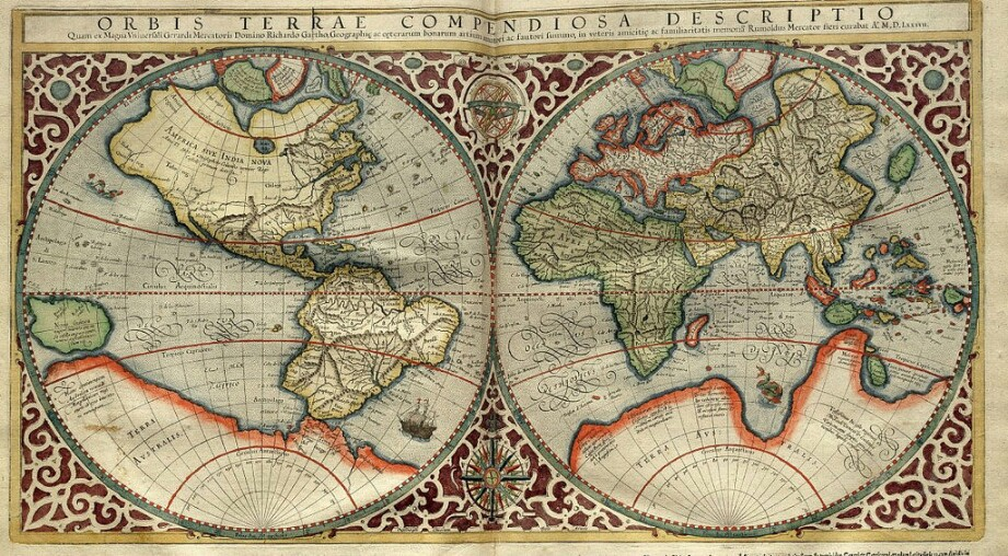 An ancient map of the globe.