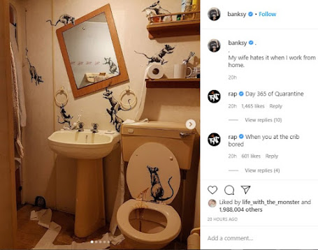 160420 Banksy painted his bathroom with rats