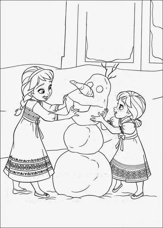 Dibujo De Ana Y Elsa Construyendo Al Muneco De Nieve Olaf Para