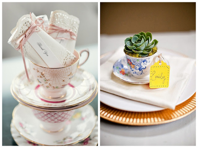 incorporate tea cups into your wedding favors via Oh Lovely Day