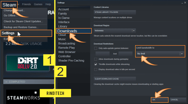 How to limit the download speed in Steam Games