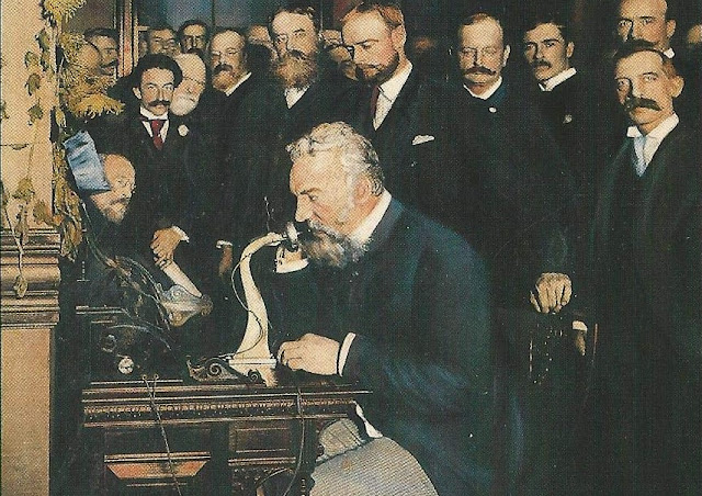 Image: Alexander Graham Bell demonstrates the newly invented telephone