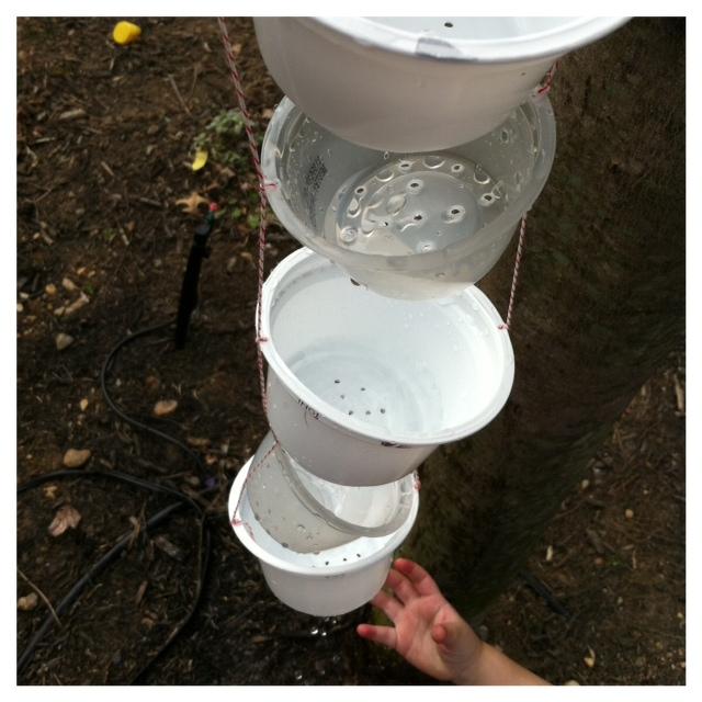 plastic yogurt cup rain chain