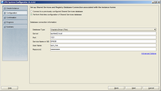 Shared Services database configuration panel