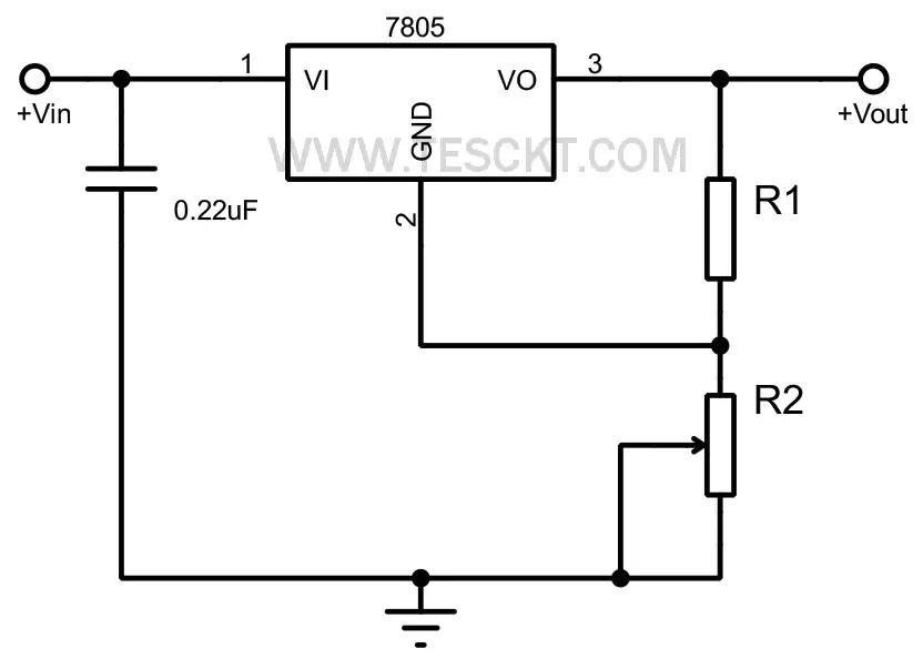 7805 Adjustable voltage regulator