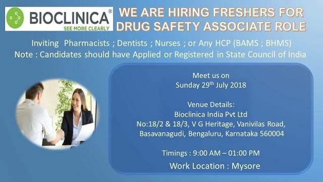Drug Safety Associate freshers job at Bioclinica