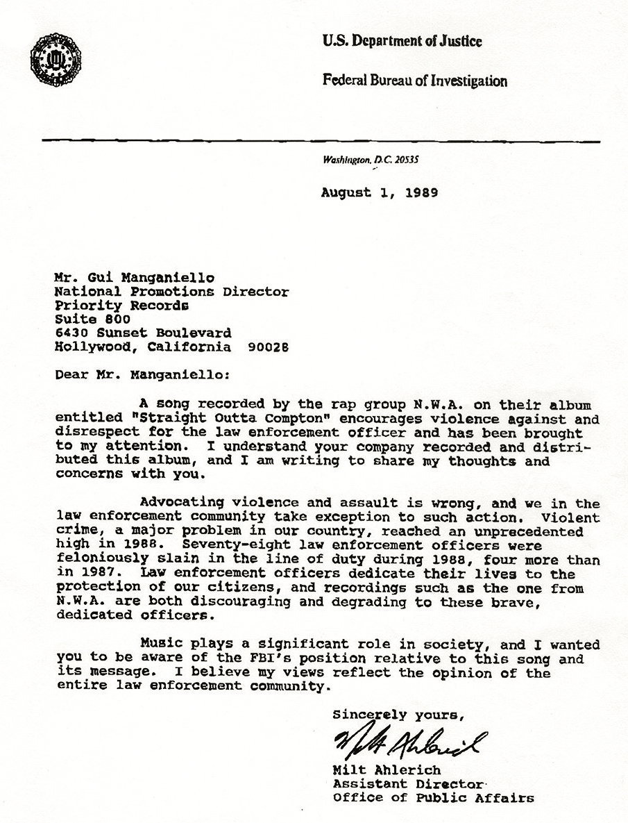 N.W.A. Letter from FBI to NWA