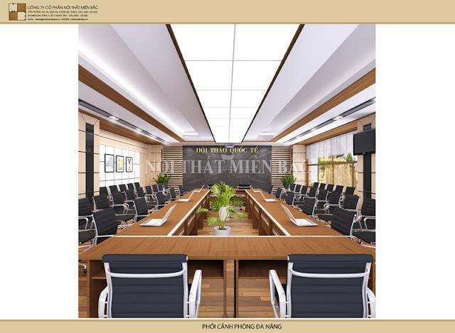 Thiết kế trần mang chiều sâu cuốn hút nhằm mang đến cho nội thất phòng họp nét đẹp độc đáo, sang trọng