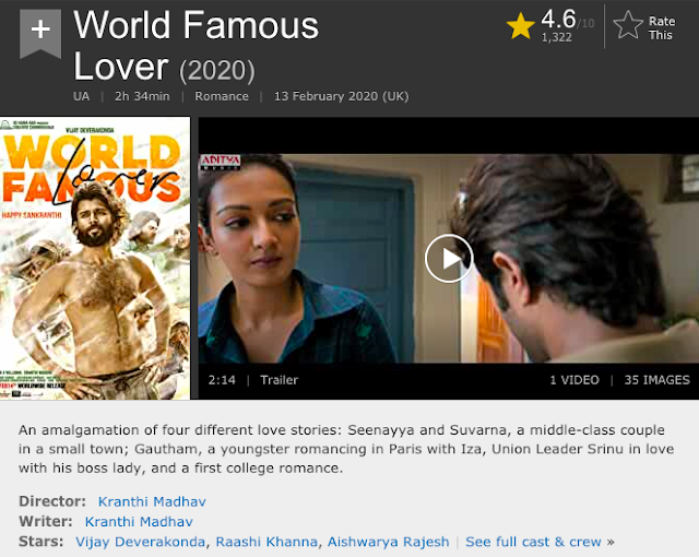 Download World Famous Lover (2020) Telugu Movie 480p | 720p WEB-DL 400MB | 900MB