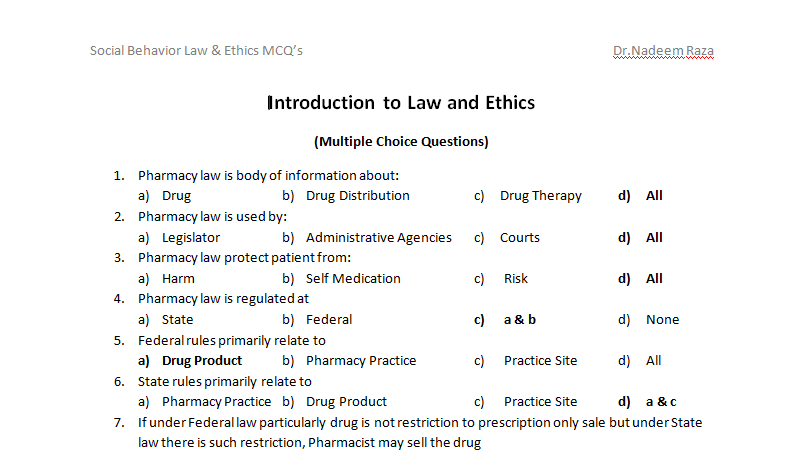 Introduction to Law and Ethics MCQs - BZCP MCQs Notes For Pharmacy
