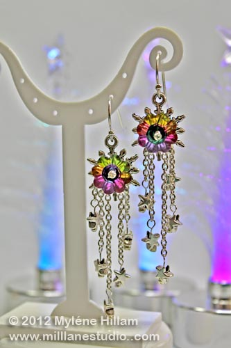 Vitrail crystal earrings with delicate silver stars dangling from fine jewelry chain.