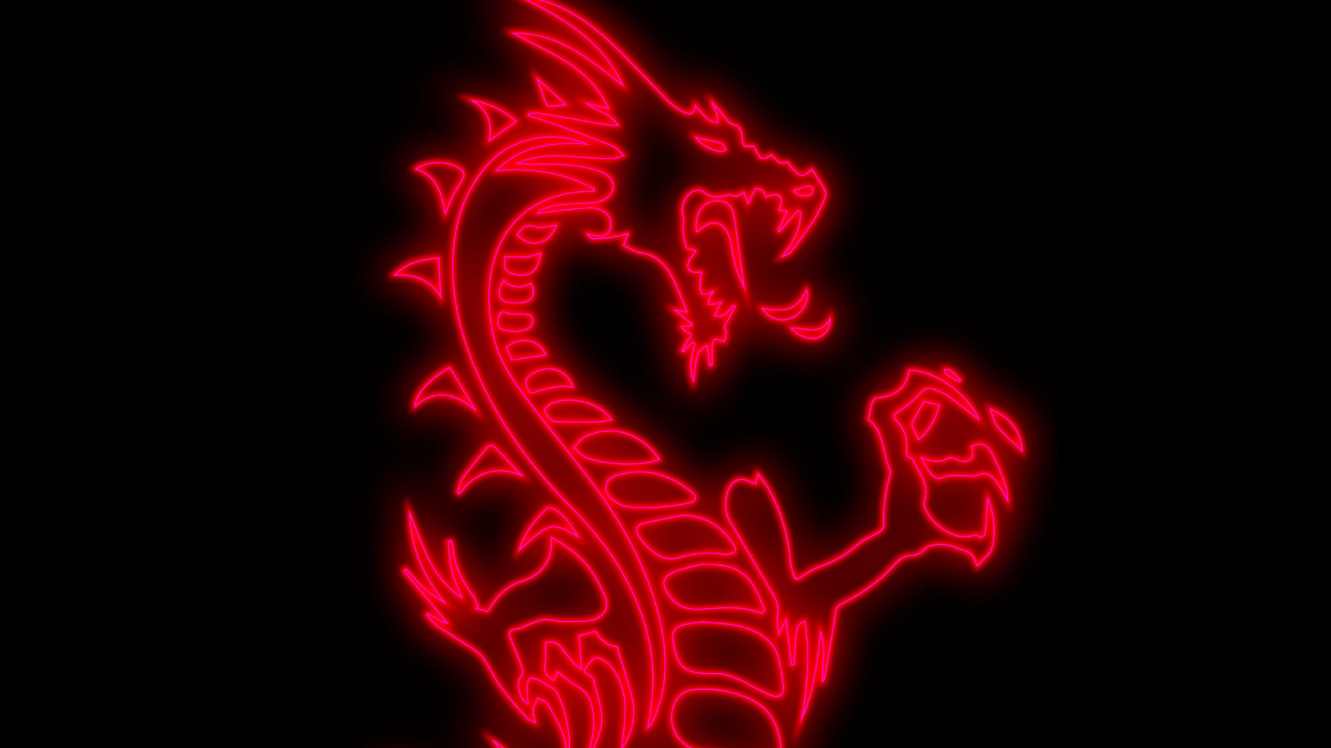 neon red dragon black wallpaper hd for desktop 1080p