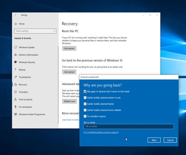 saat ini sedang diluncurkan untuk pengguna Mengembalikan dan Menghapus Pembaruan Windows