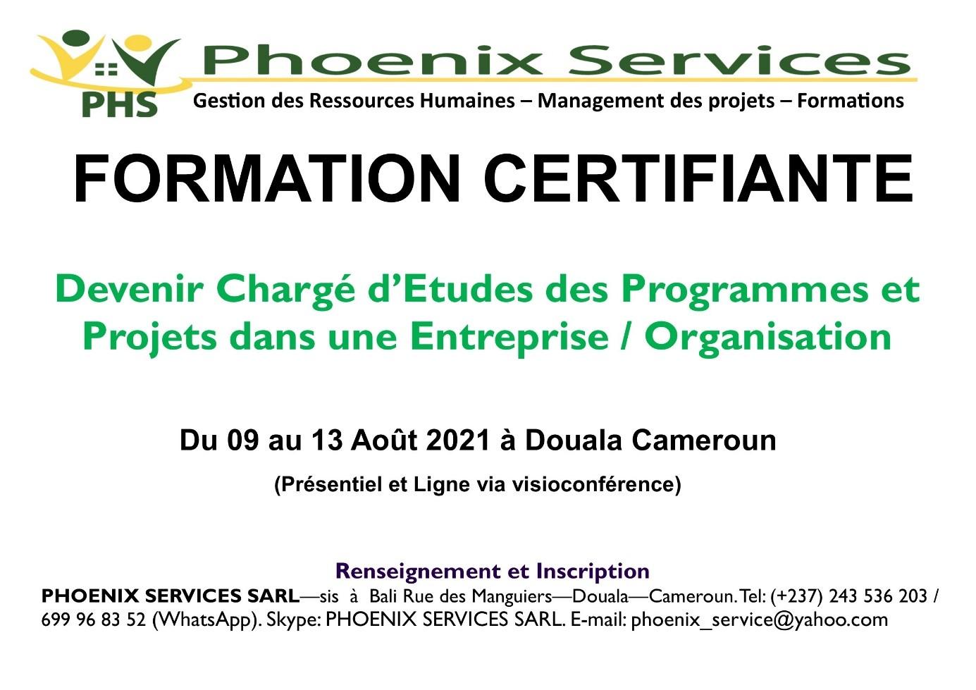 Formation Certifiante: Devenir chargé d'études des Programmes et Projets dans une Entreprise / Organisation
